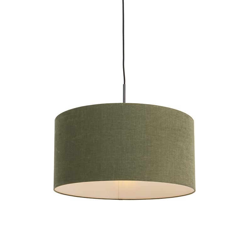 Moderne hanglamp zwart met mos groene kap 50cm - Combi 1