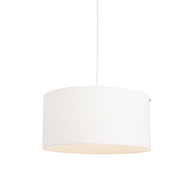 Moderne hanglamp wit met off-white kap 50cm - Combi 1