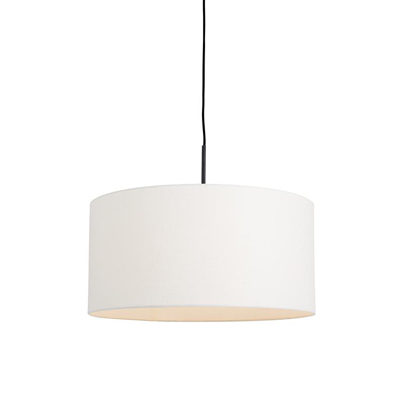 Moderne hanglamp zwart met off-white kap 50cm - Combi 1