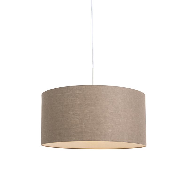 Moderne hanglamp wit met oud grijze kap 50cm - Combi 1