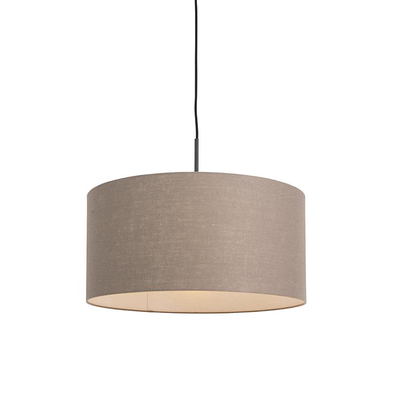 Moderne hanglamp zwart met oud grijze kap 50cm - Combi 1