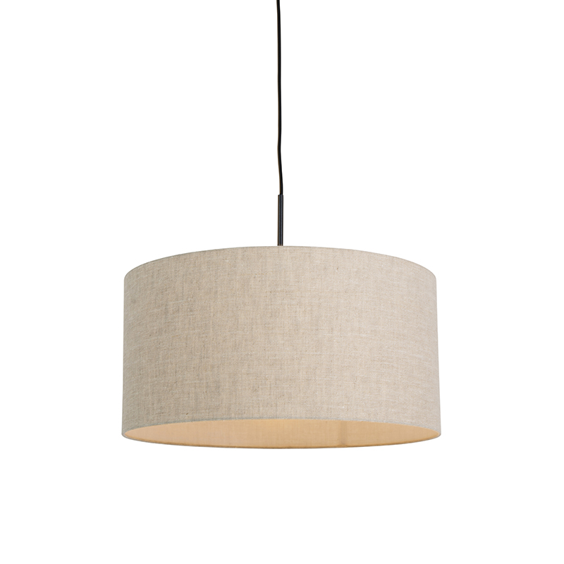 Moderne hanglamp zwart met peper kleurige kap 50cm - Combi 1