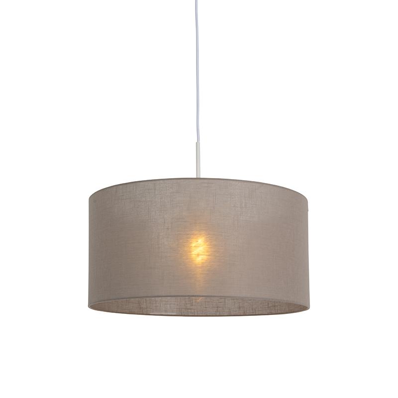 Moderne hanglamp wit met taupe kleurige kap 50cm - Combi 1