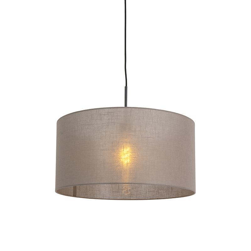 Moderne hanglamp zwart met taupe kleurige kap 50cm - Combi 1