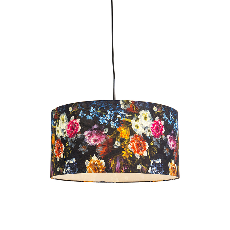 Moderne hanglamp zwart met Flora kap 50cm - Combi 1