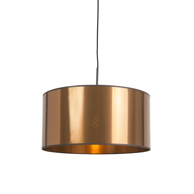 Art Deco hanglamp wit met koperen kap 50 cm - Combi 1