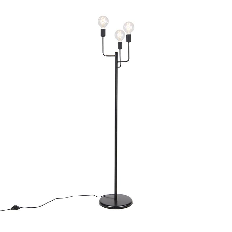 Nowoczesna lampa podłogowa czarna 3-źródła światła - Facile