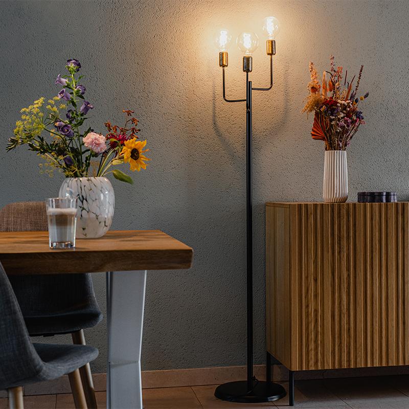 Moderne vloerlamp zwart met gouden fitting 3-lichts - Facile