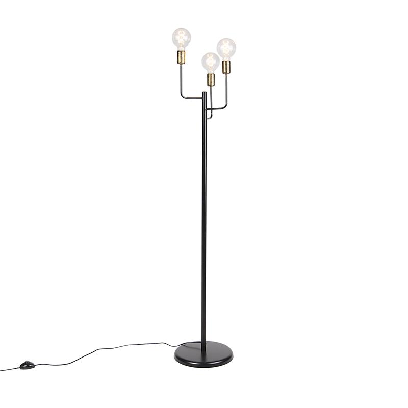 Nowoczesna lampa podłogowa czarna złote końcówki 3-źródła światła - Facile