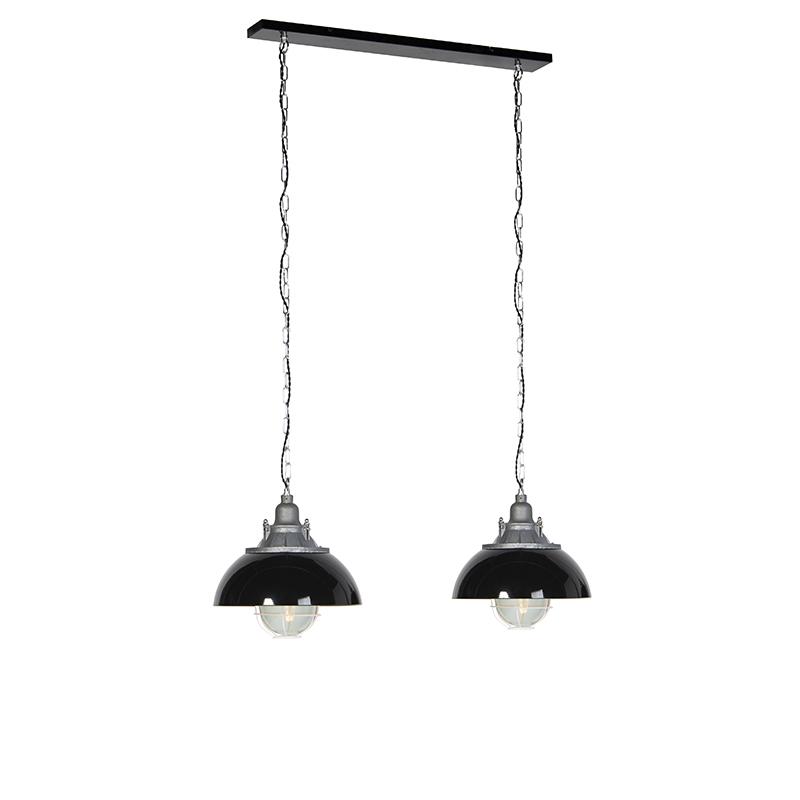 Industrialna lampa wisząca czarna 2-źródła światła - Nell