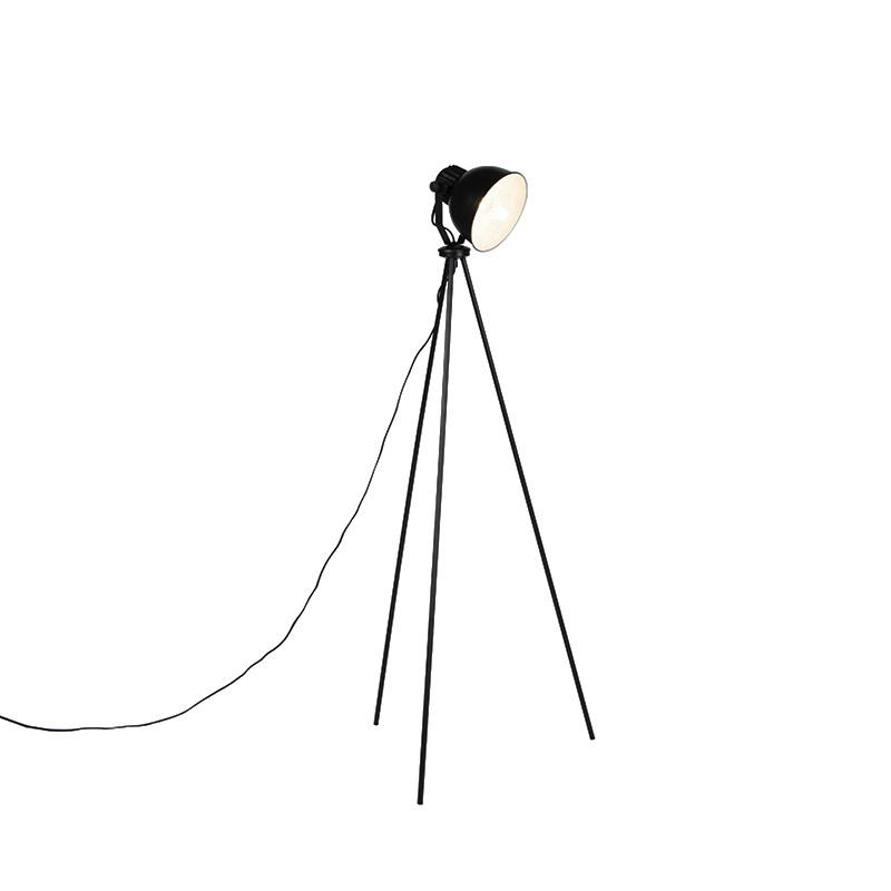 Industrialna lampa podłogowa czarno-srebrna - Frodo