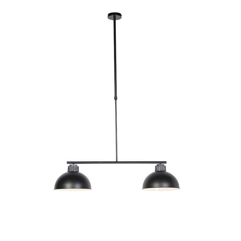 Industriele hanglamp zwart met zilver 2-lichts - Frodo