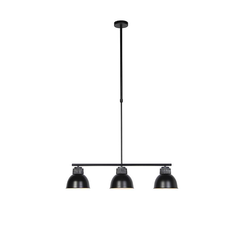 Industriele hanglamp zwart met zilver 3-lichts - Frodo