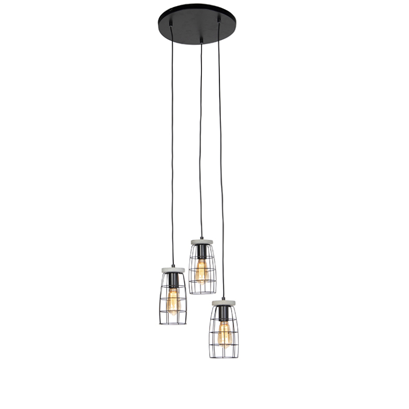 Industriele hanglamp betonlook zwart 3-lichts - Rohan