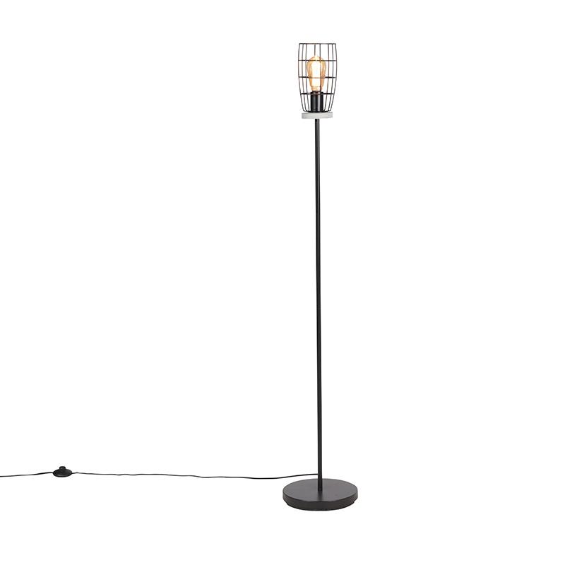 Industriële vloerlamp betonlook met zwart - Rohan