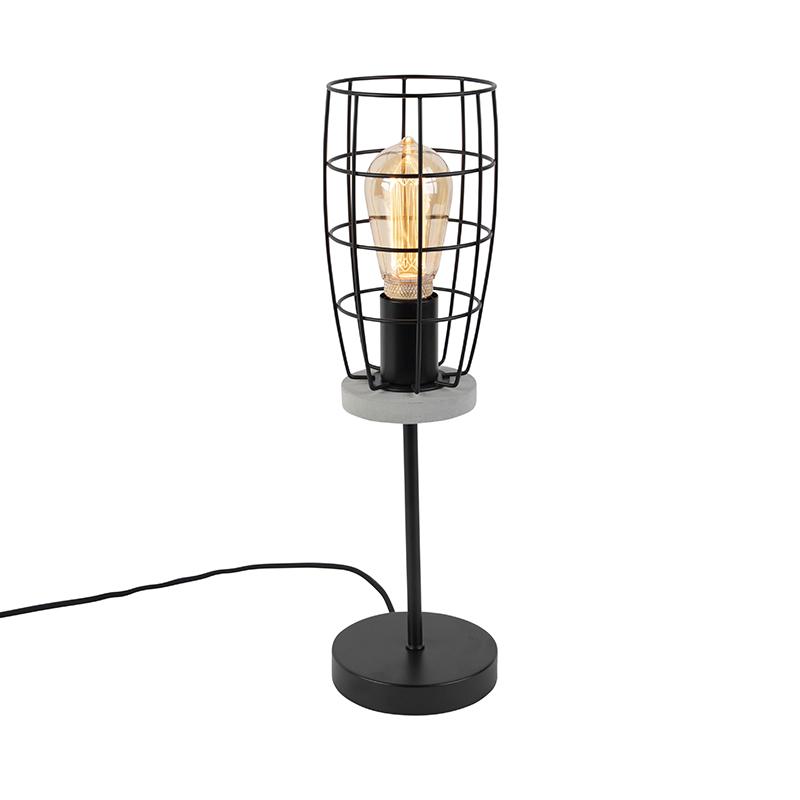 Industriele tafellamp betonlook met zwart - Rohan