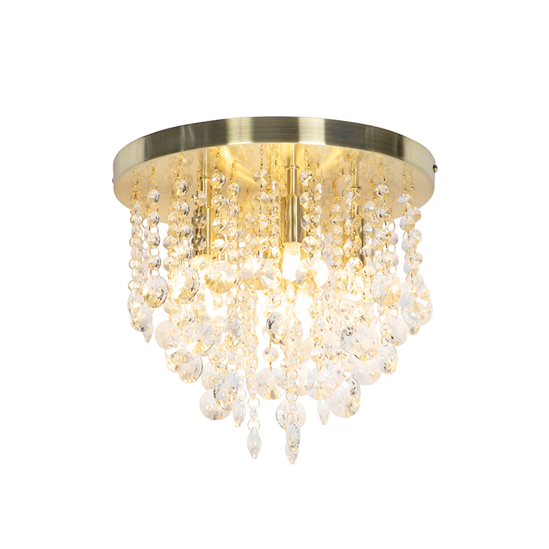 Art Deco Plafondlamp Messing Met Glazen Kralen - Medusa