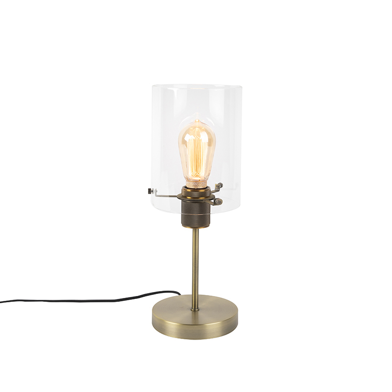 Moderne tafellamp brons met glas op standaard - Dome