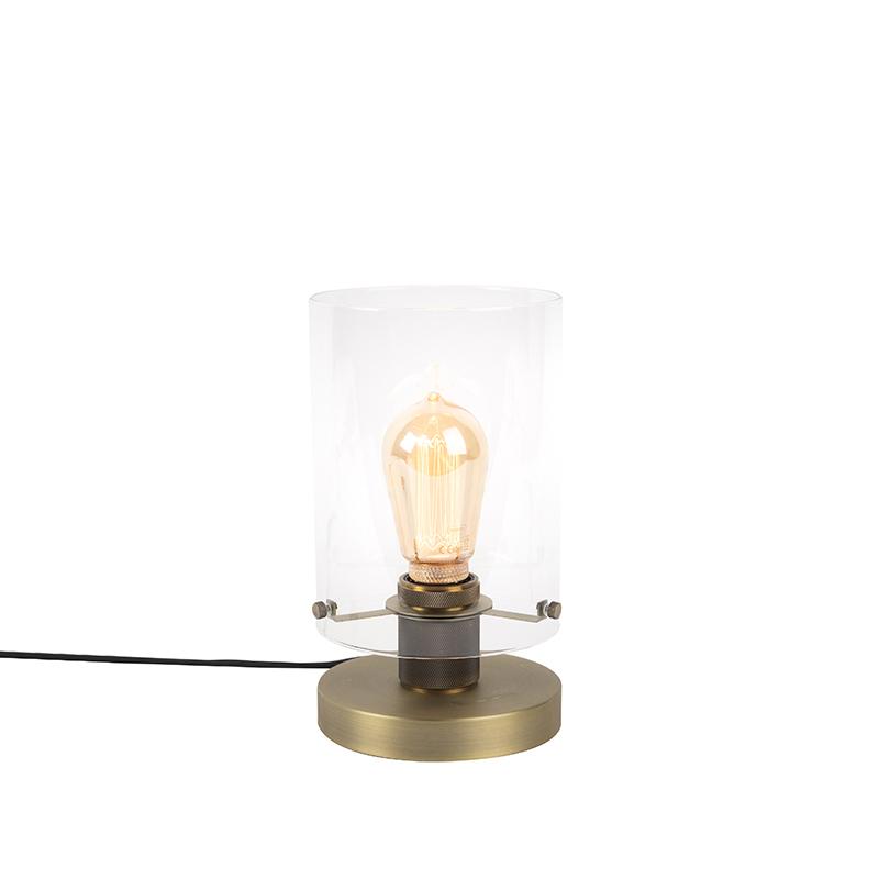 Moderne tafellamp brons met glas - Dome