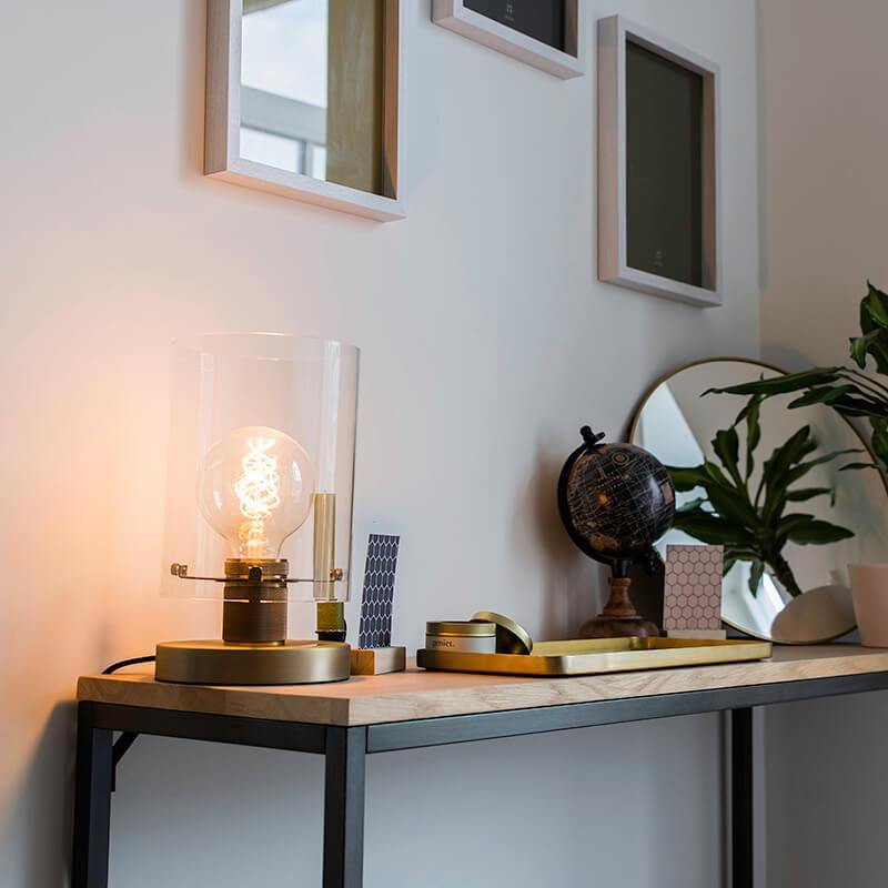 Scandinavische tafellamp brons met glas - Dome
