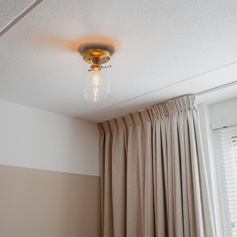 Moderne plafondlamp brons met glas - Dome