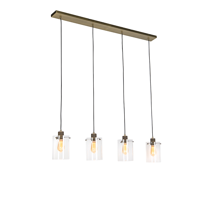 Moderne hanglamp brons met glas 4-lichts - Dome