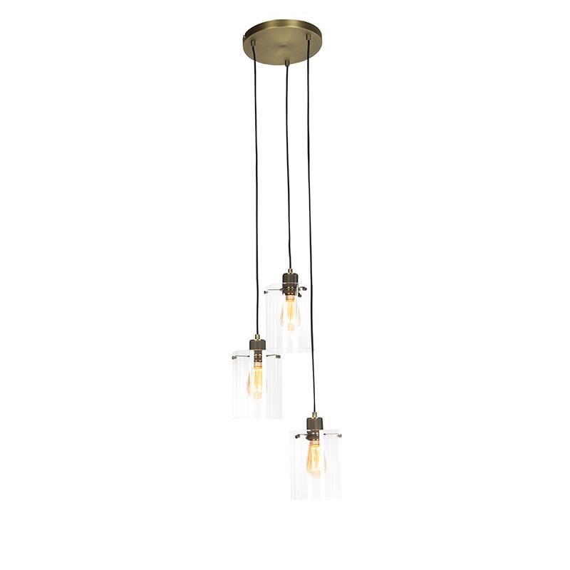 Moderne hanglamp brons met glas 3-lichts - Dome