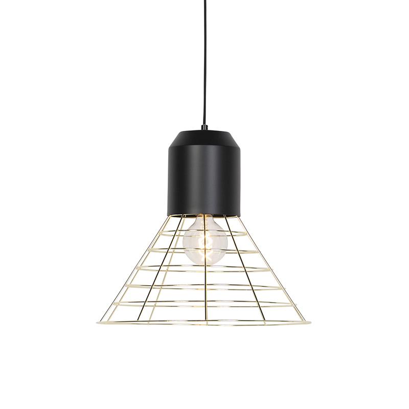 Industriele hanglamp zwart met messing frame 45cm - Fausa