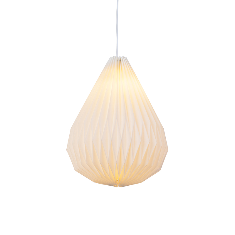 Nowoczesna papierowa lampa wisząca biała - Paper Cone