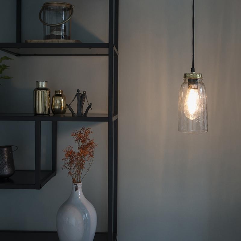 Vintage hanglamp goud met helder glas - Masons