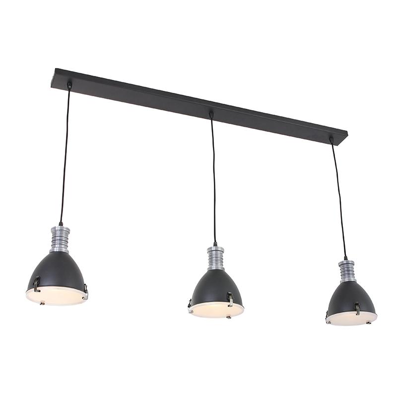 Industrialna lampa wisząca czarna 3-źródła światła - Rick