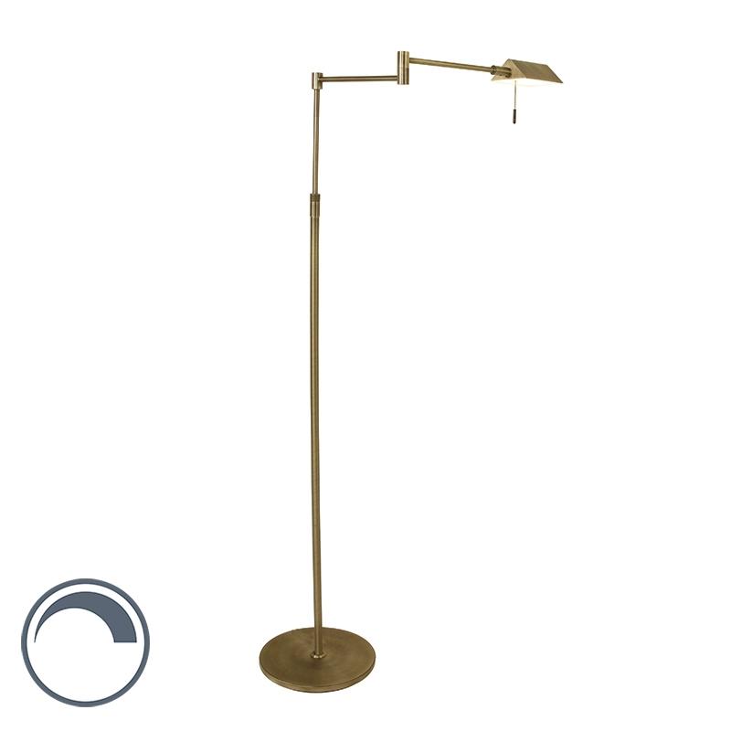Landelijke vloerlamp brons dimbaar incl. LED - Micho
