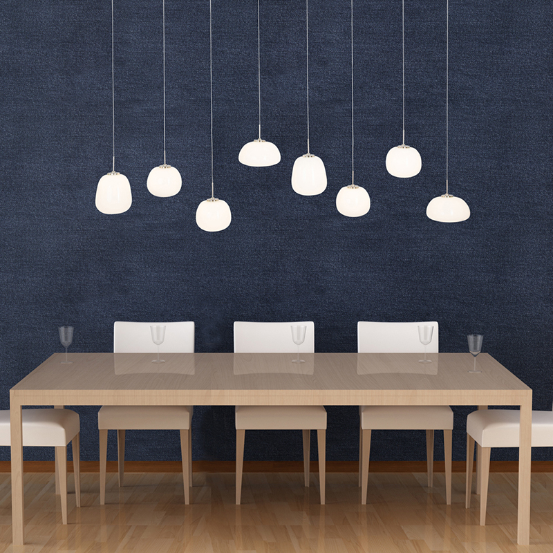 Moderne hanglamp staal met glas incl. LED 8-lichts - Mika