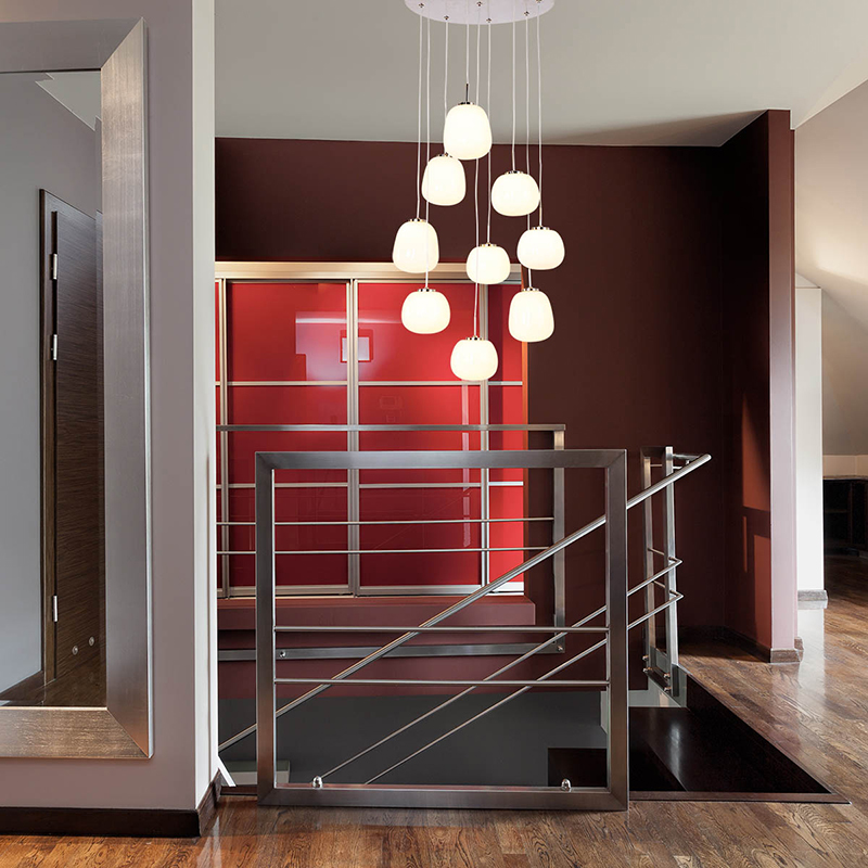 Moderne hanglamp staal met glas incl. LED 9-lichts - Mika