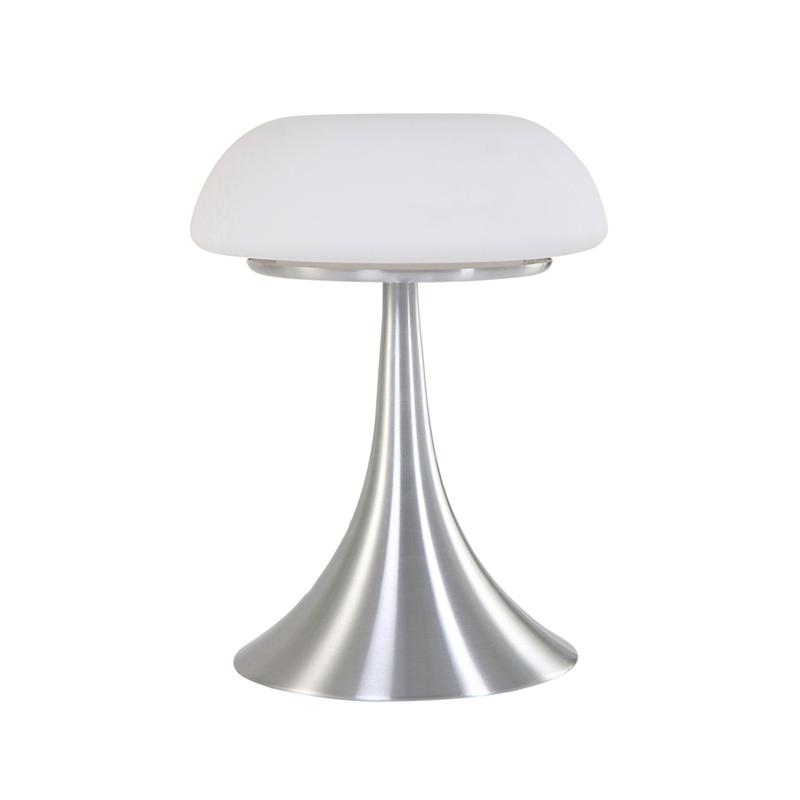 Moderne ronde tafellamp staal met glas - Gareth