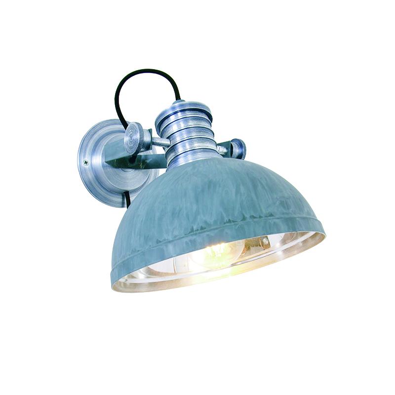 Industriele ronde wandlamp grijs - Daryl