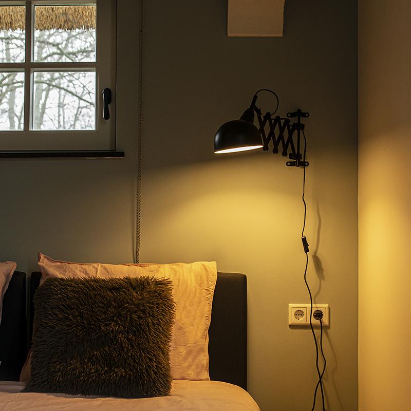 Industriele wandlamp zwart verstelbaar - Merle