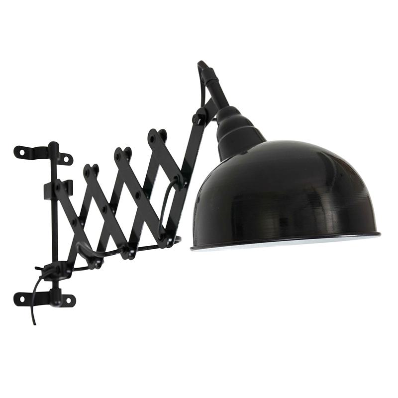 Industriele Wandlamp Zwart Met Harmonica Arm - Merle