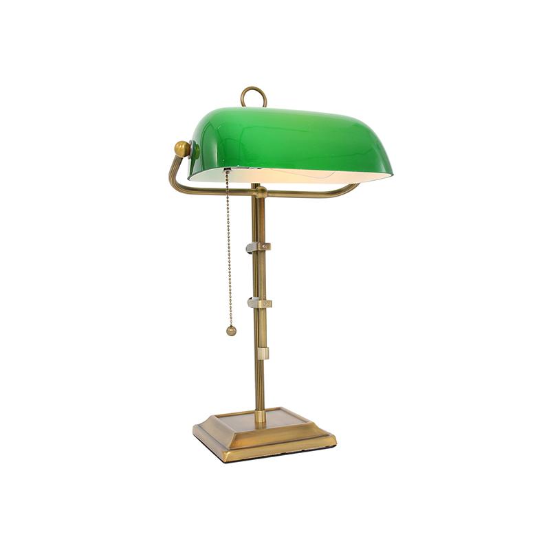 Vintage tafellamp brons met groen glas - Morgan