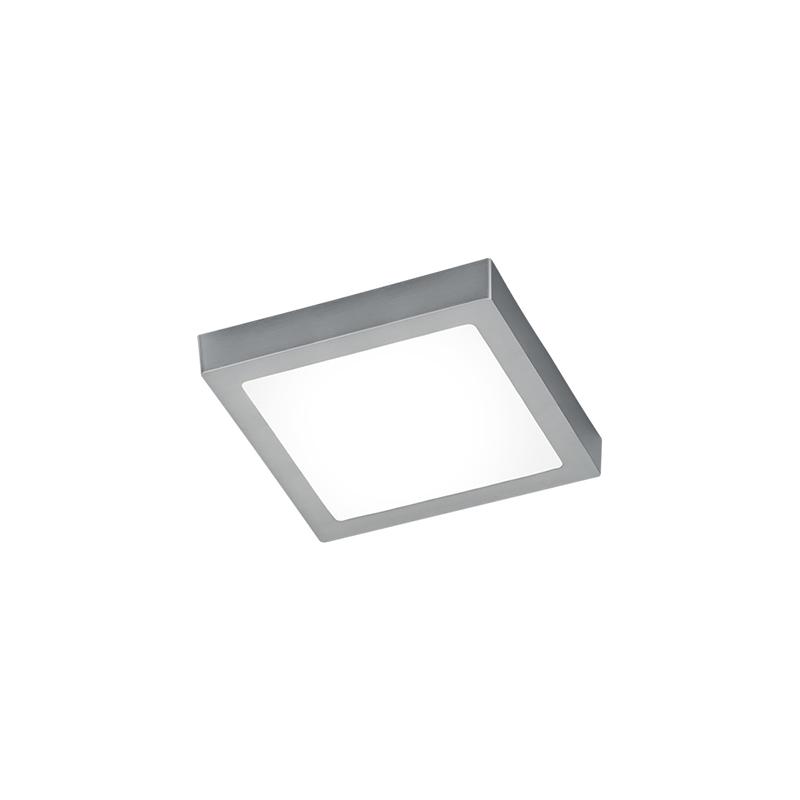 Moderne vierkante plafondlamp staal met glas incl. LED - Boy
