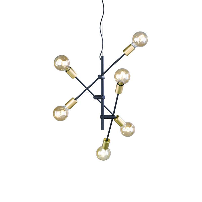 Industriele hanglamp zwart en messing 6-lichts - Sydney
