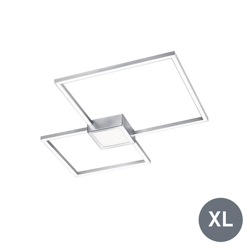 Moderne vierkante plafondlamp staal incl. LED - Carpo