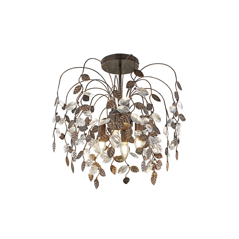 Landelijke plafondlamp met blaadjes in roestbruin en glas - Serga
