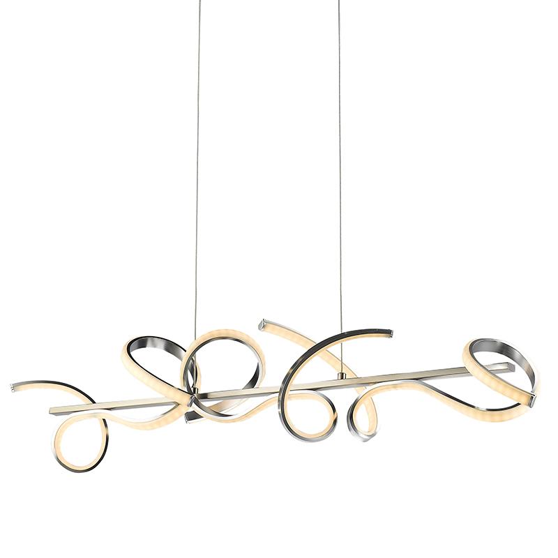 Design hanglamp met sierlijk gekruld LED staal om een balk van 100cm - Kriscross