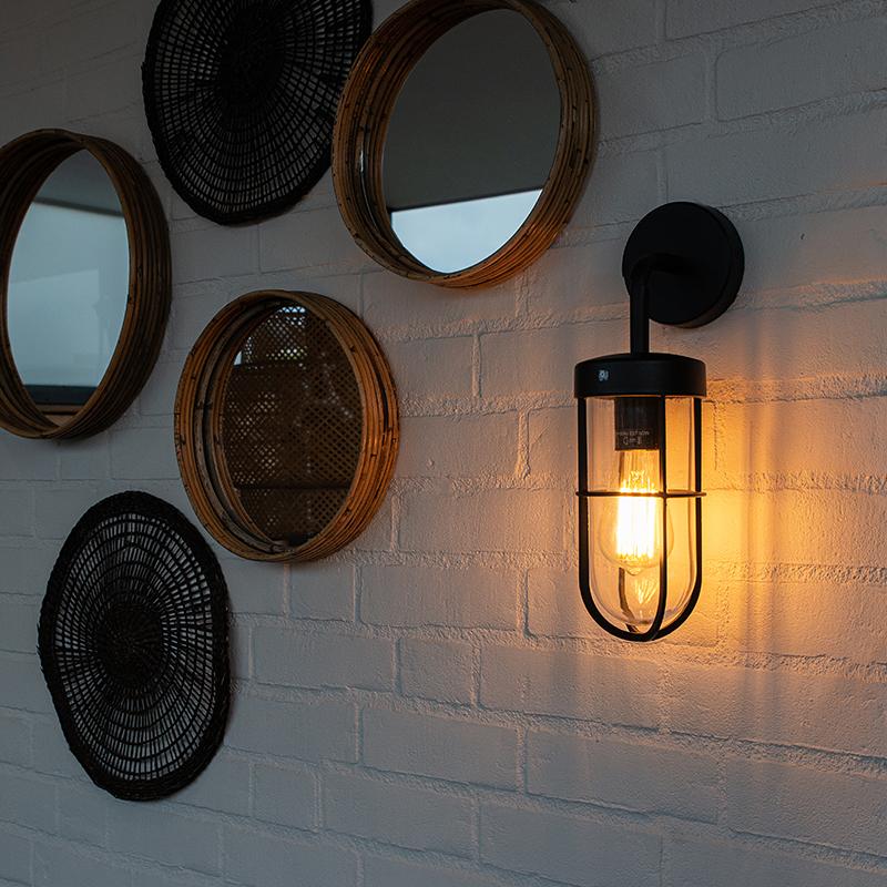 Landelijke buitenwandlamp zwart met glas - Elza