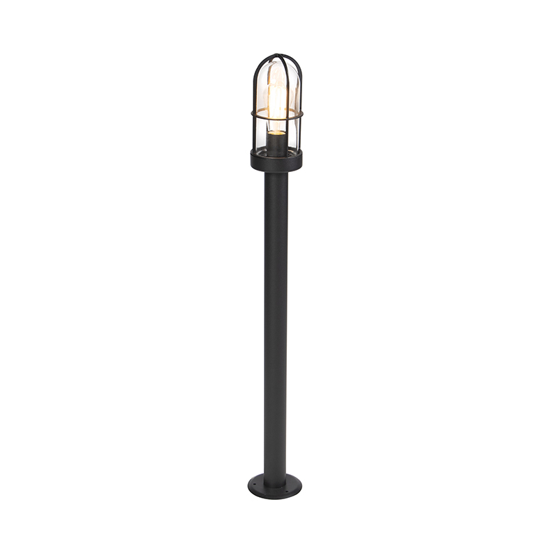 Landelijke Buitenlamp Zwart Met Glas 100cm - Elza