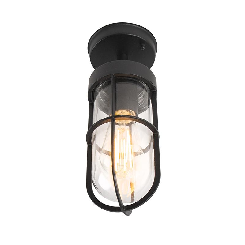 Landelijke buitenplafondlamp zwart met glas IP44 - Elza