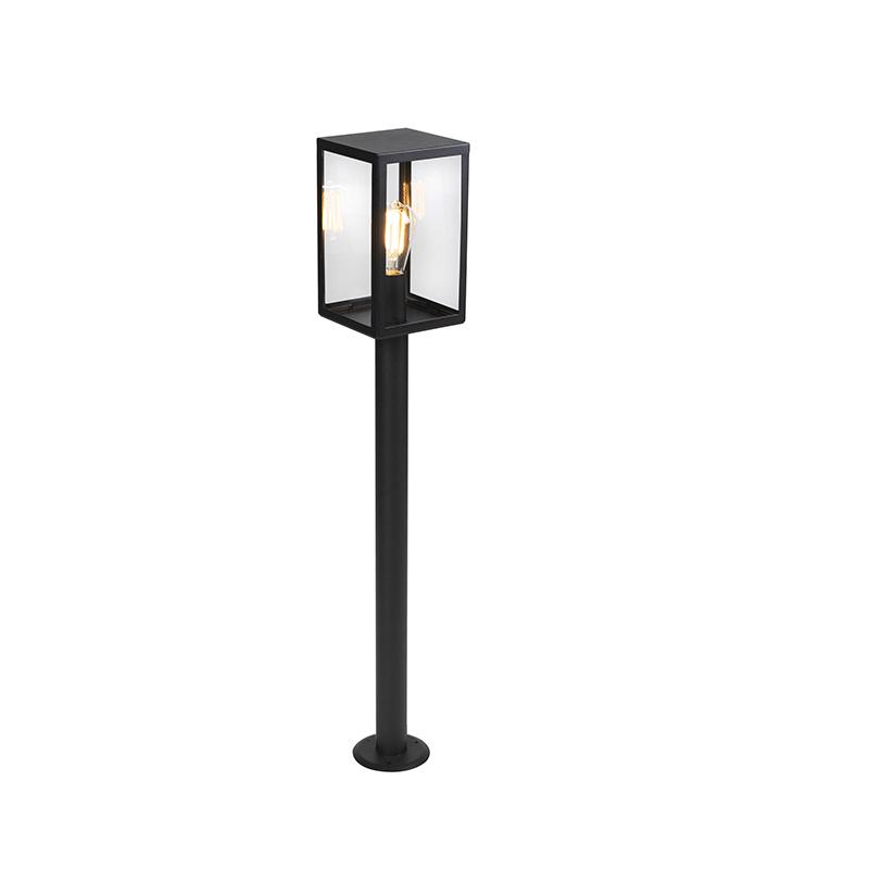 Moderne rechthoekige buitenlamp zwart met glas 100,5cm - Rotterdam