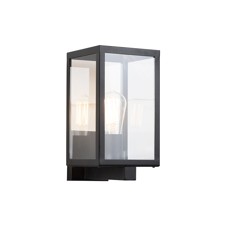 Moderne rechthoekige buitenwandlamp zwart met glas - Rotterdam