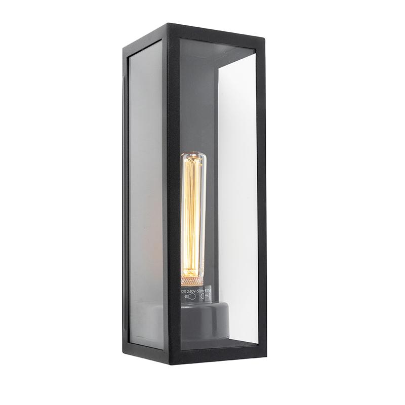 Moderne rechthoekige buitenwandlamp zwart met glas - Rotterdam Long